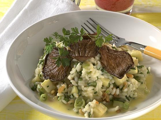 Zucchini-Kräuterrisotto mit Austernpilzen - BCM Diät Rezepte.at