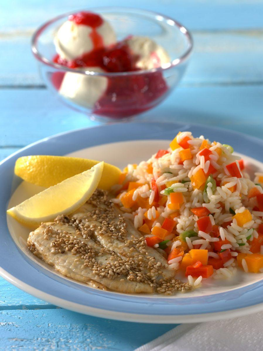 Schollenfilets mit Paprikareis - BCM Diät Rezepte.at