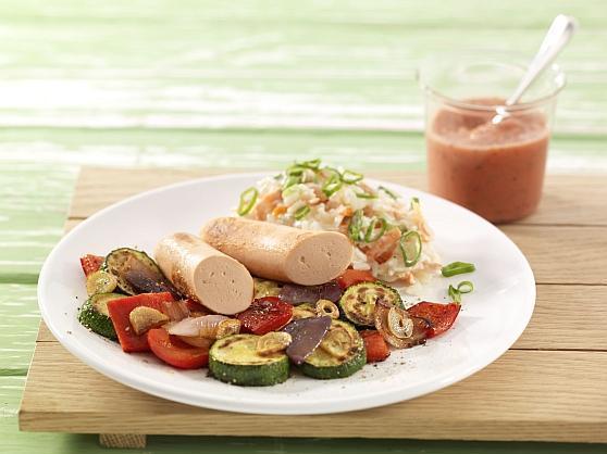Gegrilltes Gemüse mit Tofuwürstchen - BCM Diät Rezepte.at
