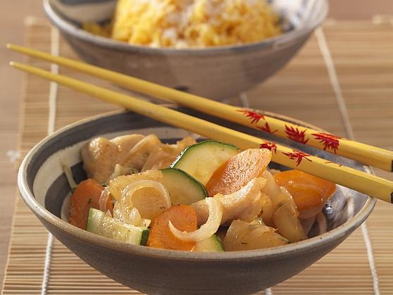 Hähnchenbrust mit gebratener Ananas und Kokos-Curryreis - BCM Diät Rezepte.at