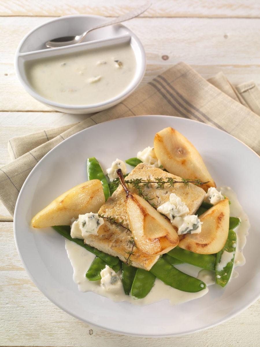 Gebratener Tofu mit Birne, Zuckerschoten und Gorgonzola - BCM Diät Rezepte.at