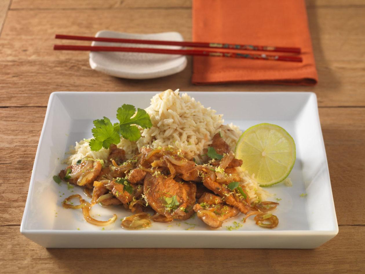 Ingwer-Limonen-Huhn mit Knoblauchreis - BCM Diät Rezepte.at