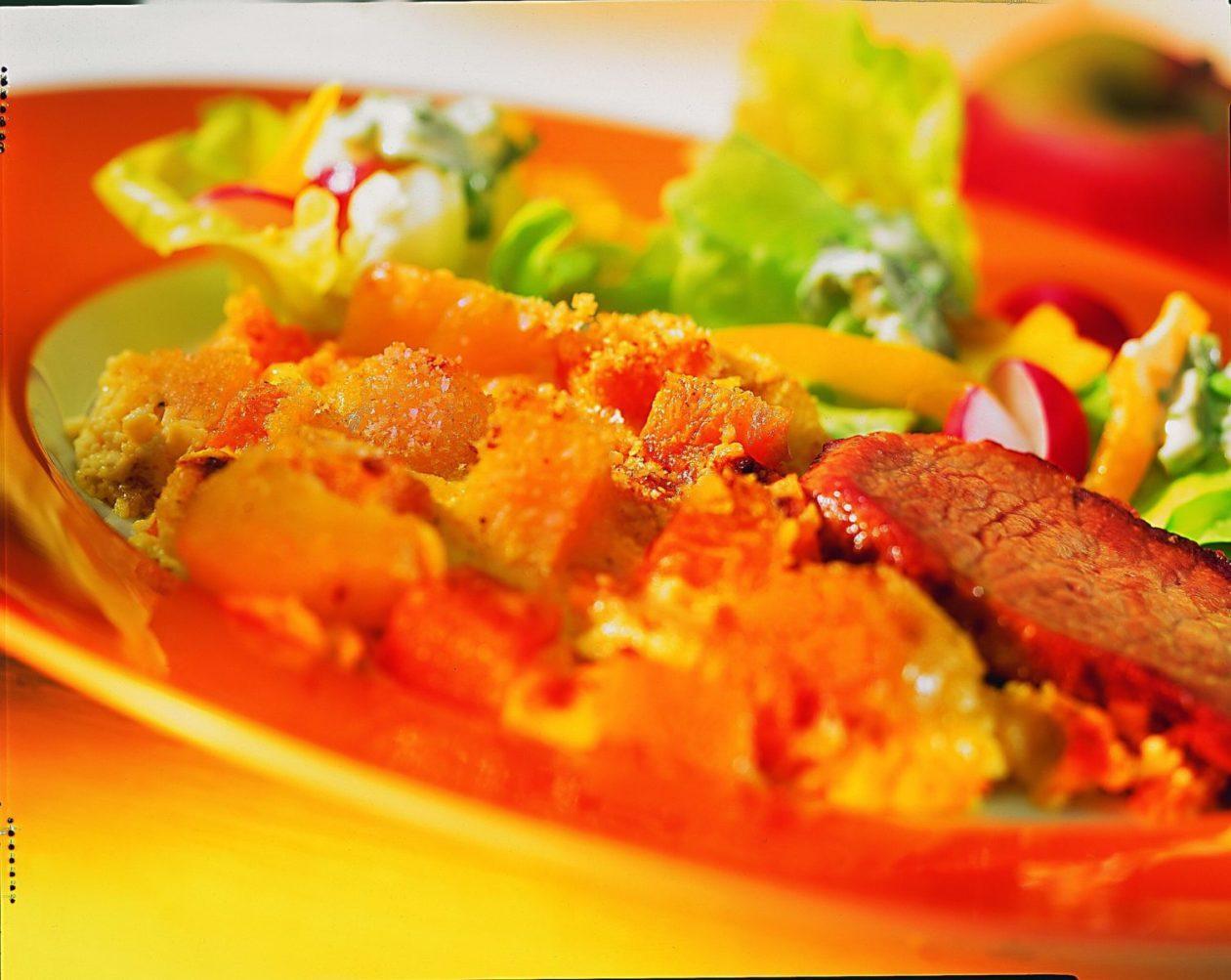 Kürbisauflauf mit Schweineschnitzel - BCM Diät Rezepte.at