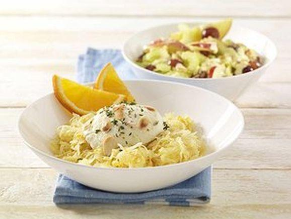 Orangen-Sauerkraut mit gratiniertem Ziegenfrischkäse und Apfel-Sellerie-Salat - BCM Diät Rezepte.at