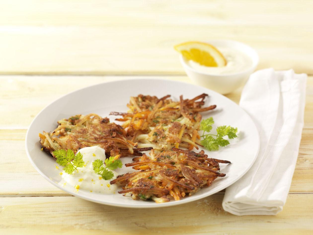 Möhrenrösti mit Ingwer-Orangen-Quark - BCM Diät Rezepte.at