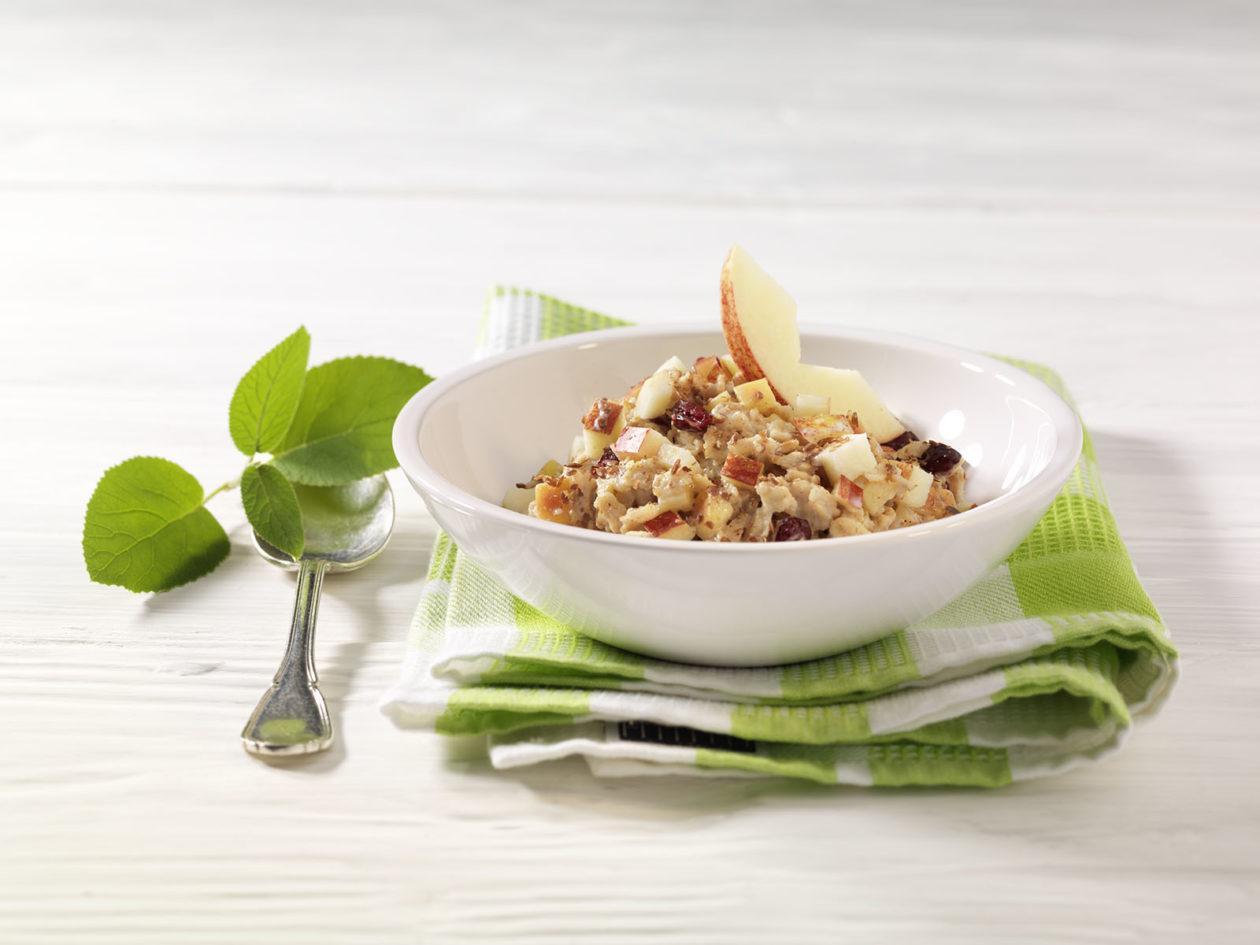 Hafer-Porridge mit Apfelstücken, Cranberries und Leinsamen - BCM Diät Rezepte.at